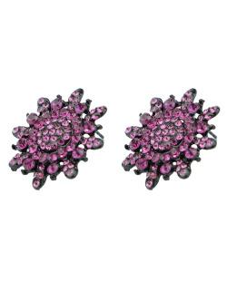 Brinco pequeno preto com strass rosa Estremoz