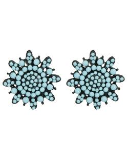 Brinco pequeno preto com strass azul-turquesa Estremoz