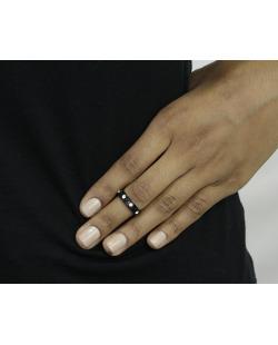 Anel de falange preto com strass cristal Chiang