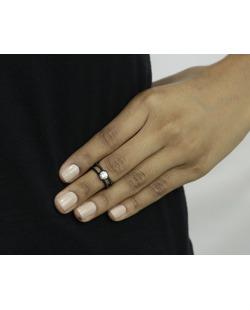 Anel de falange preto com strass cristal Kaen