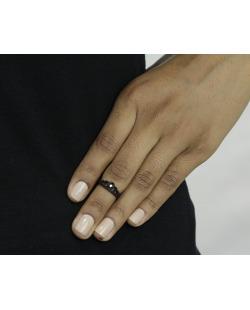 Anel de falange preto com strass cristal Yala