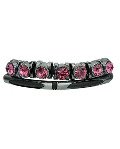 Pulseira de couro preta com strass rosa Viena