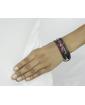 Pulseira de couro preto com strass rosa Steyr