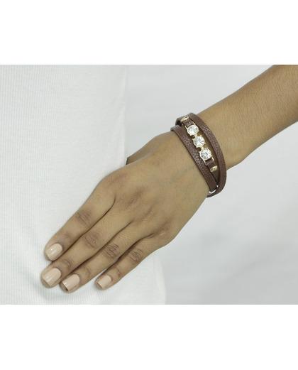 Pulseira de couro marrom com strass cristal Steyr