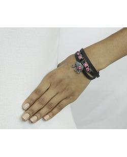 Pulseira de couro preto com strass rosa Wels