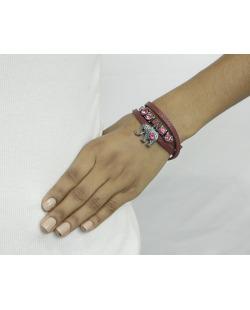 Pulseira de couro bordo com strass rosa Wels