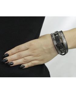 Pulseira de couro 3 voltas grafite com strass cristal Ana