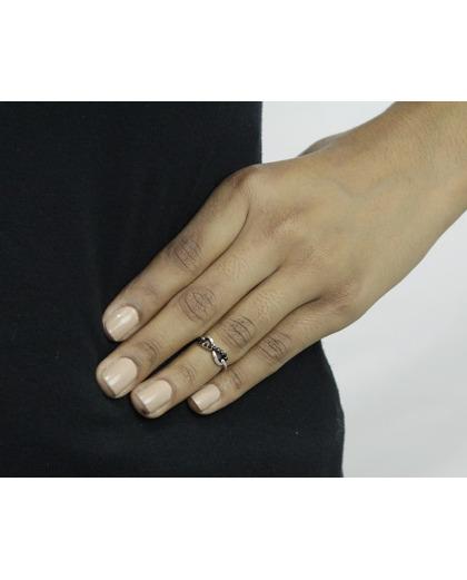 Anel de falange prateado com strass preto Marken