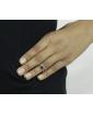 Anel de falange prateado com strass preto Pune