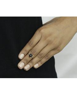 Anel de falange prateado com strass preto Surate