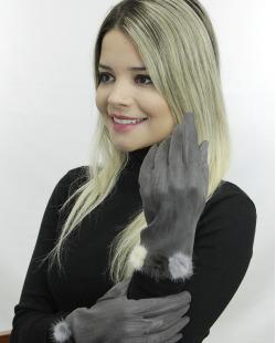 Luva de algodão cinza com pompom Dhanbad