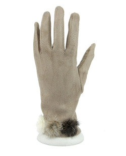 Luva de algodão marrom claro com pompom Dhanbad