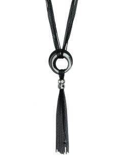 Maxi colar preto e grafite com strass Kiruna