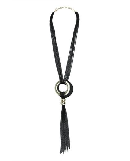 Maxi colar preto e dourado com strass Kiruna