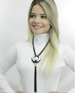 Maxi colar preto, dourado e azul com strass Kiruna