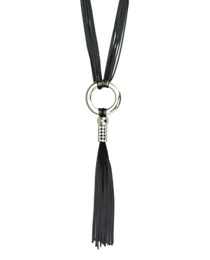 Maxi colar preto e dourado com strass Borås