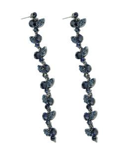 Maxi brinco grafite com strass azul Sigtuna