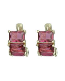 Brinco pequeno dourado com strass rosa Suzdal
