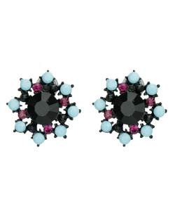 Brinco pequeno preto com strass preto, azul e rosa Mbale