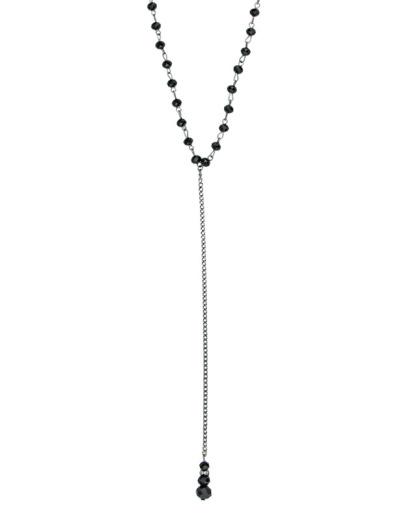 Gargantilha chocker de metal com miçanga pretas Kabale