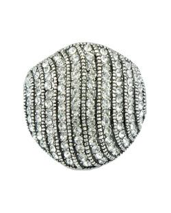 Anel de metal prateado com strass cristal Tororo
