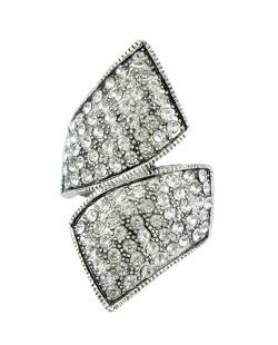 Anel de metal prateado com strass cristal Kisoro
