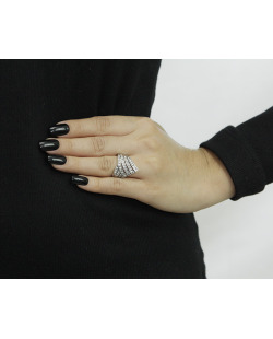 Anel de metal prateado com strass cristal Katwe