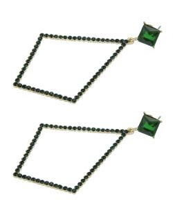 Maxi brinco de metal dourado com strass verde Maipú