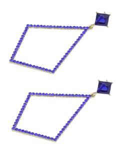 Maxi brinco de metal dourado com strass azul Maipú