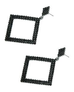 Maxi brinco de metal grafite com strass preto Chibia