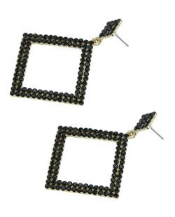 Maxi brinco de metal dourado com strass preto Chibia
