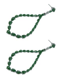 Maxi brinco de metal grafite com strass verde Ganda