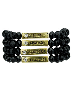 Kit 4 pulseiras dourada e preto Caconda