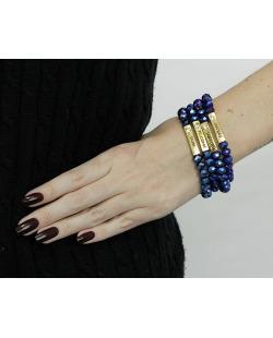 Kit 4 pulseiras dourada e azul-metálico Caconda