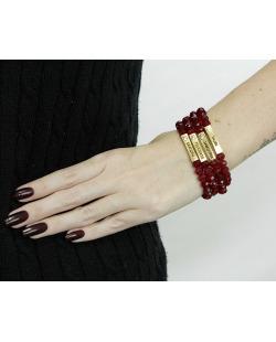 Kit 4 pulseiras dourada e vermelha Caconda