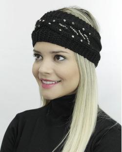 Gorro vazado tricô preto com strass Cuchi