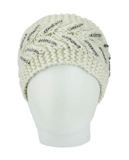 Gorro vazado tricô branco com strass Ucuma