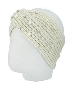 Gorro vazado tricô branco com pérolas Humpata