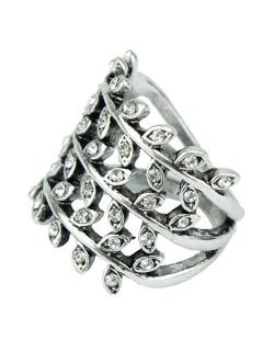 Anel de metal prateado com strass cristal Quibala