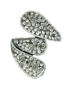Anel de metal prateado com strass cristal Adis