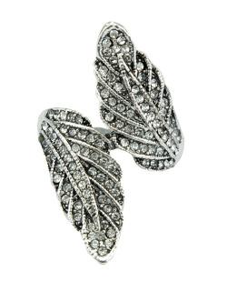 Anel de metal prateado com strass cristal Axum