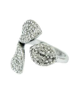 Anel de metal prateado com strass cristal Harar
