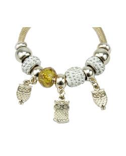 Pulseira pandora dourada e amarelo com strass brilhante Owl