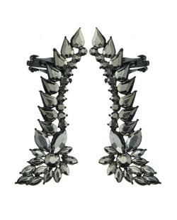 Ear cuff de metal preto com strass grafite Luleå