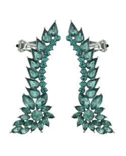Ear cuff de metal prateado com strass verde Luleå
