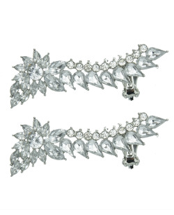 Ear cuff de metal prateado com strass cristal Luleå