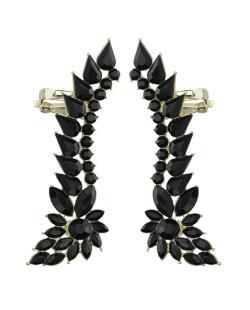 Ear cuff de metal dourado com strass preto Luleå