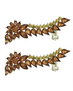 Ear cuff de metal dourado com strass caramelo Luleå