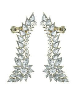 Ear cuff de metal dourado com strass cristal Luleå