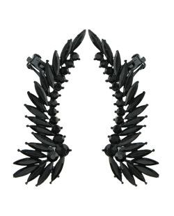 Ear cuff de metal preto com strass preto Solna